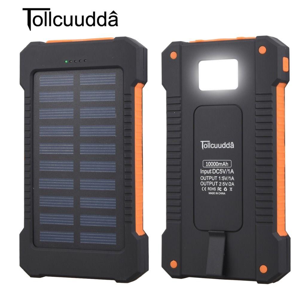 Solaire Banque D'alimentation Étanche 10000 mAh Solaire Chargeur 2 Ports USB Externe Chargeur Solaire Powerbank pour Smartphone avec LED Lumière