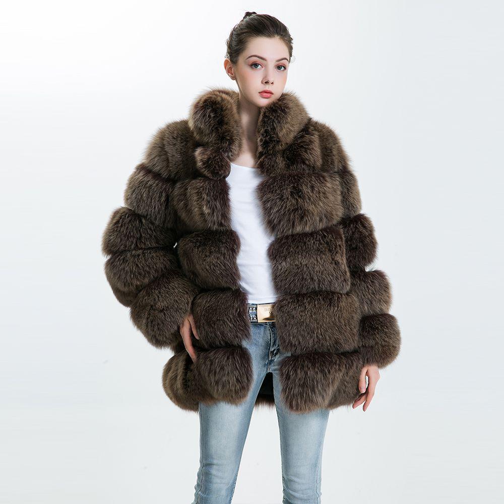 Echt Pelzmantel Winter Jacke Echten Fuchs Kleidung 2018 Mode Großhandel Volle Pelt Damen Natürliche Fuchs Pelz Mantel Winter Mantel frauen