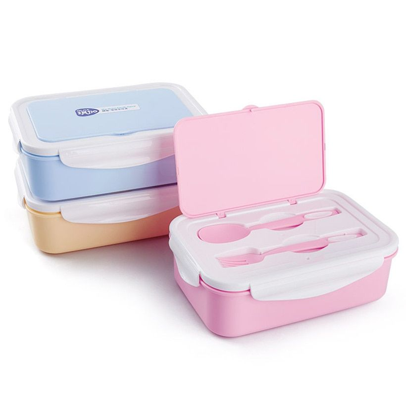 PFDIYF Portable 3 <font><b>grid</b></font> separated Lunch Box Microwave Food-Grade PP Lunch Box With Fork Spoon Bento Box Eco-Friendly 3 Colors