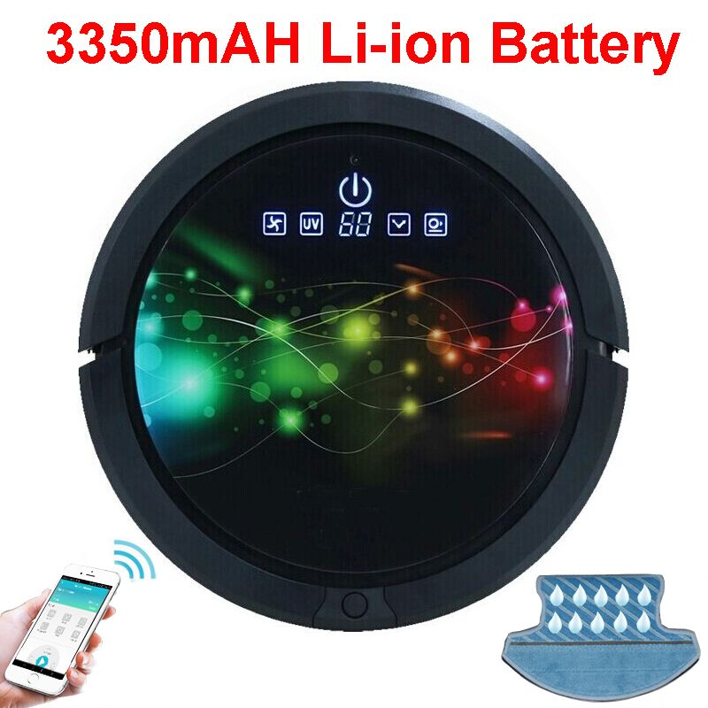 Smartphone WIFI APP <font><b>Control</b></font> Robot Vacuum Cleaner Wet And Dry Mop,Robot Aspirador With Water Tank,3350MAH lithium Battery