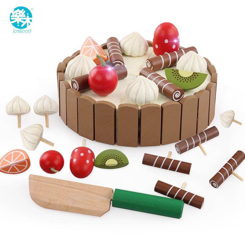 Деревянные детские Кухонные игрушки претендует резки торт играть Еда дети Игрушечные лошадки деревянные фрукты приготовления игрушка