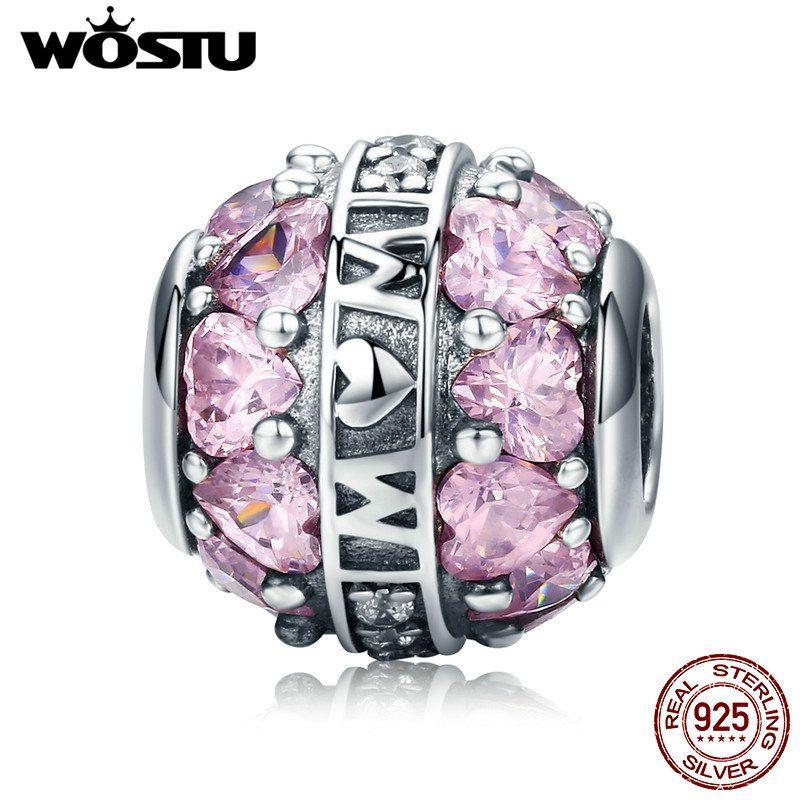Чистый 925 пробы серебро любовь все вокруг розовое сердце CZ мама Шарм Fit оригинальный браслет кулон Аутентичные мать ювелирные изделия подар...