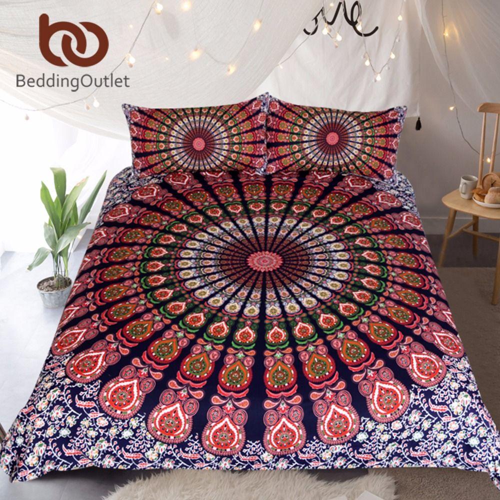 BeddingOutlet 3 Pcs Orange Blue Mandala Floral Duvet Cover Set With Pillowcase Bohemian Flower Boho Queen Size Bedding Set Soft