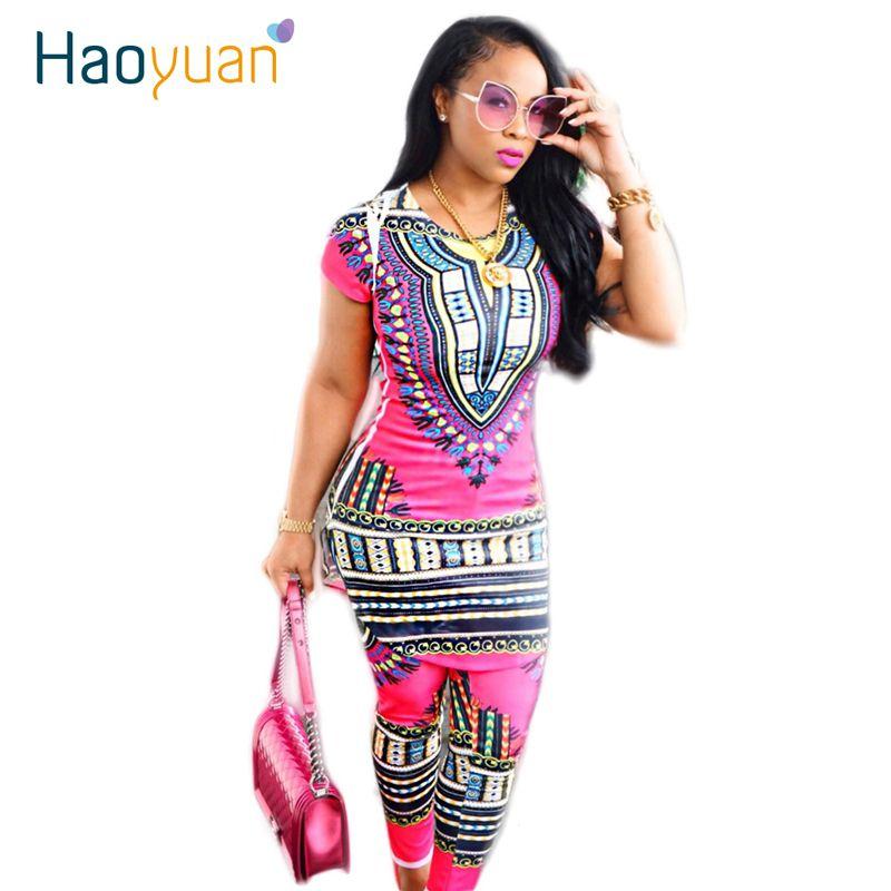 HAOYUAN 2018 Ropa de Dos Piezas de la Mujer Africana Tradicional Africano Dashiki Imprimir Bodycon Vestido + Pantalones de la Ropa Africana