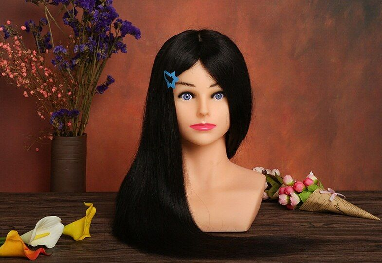 100% Human Hair Hairdressing Dolls Head with Shoulder Training Maniqui Head For Hairdresser Hair Style Mannequin Head