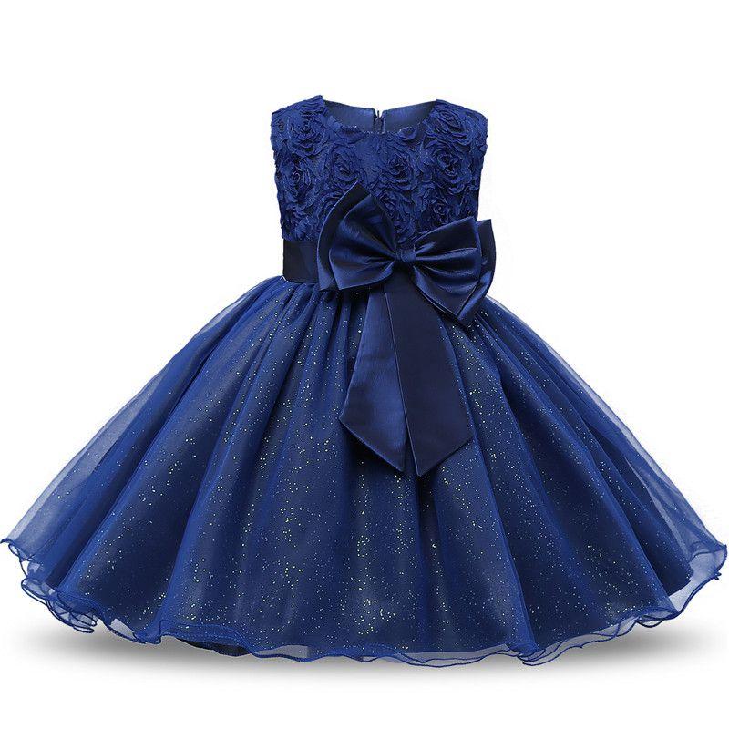 Christmas Dress Brand Flower Girl Princess Dress Lace Rose Party Wedding <font><b>Birthday</b></font> Baby Kids Girls Clothes Tutu Teen Girl Frocks
