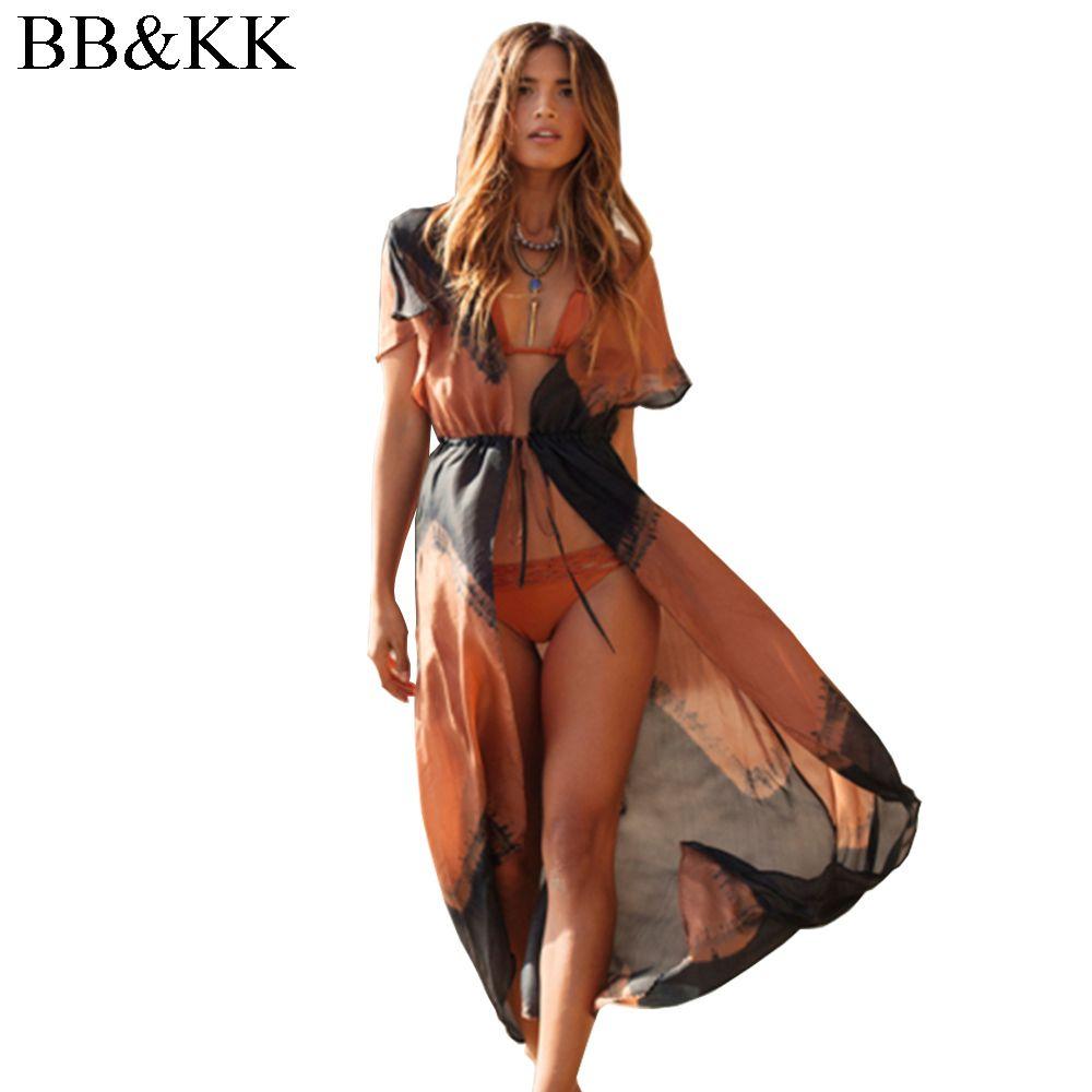 Style d'été Femmes Imprimé En Mousseline De Soie Chemisier Long Kimono Cardigan Plage Couverture Ups Décontracté Vêtements De Plage Sexy Chemise Vêtements D'extérieur