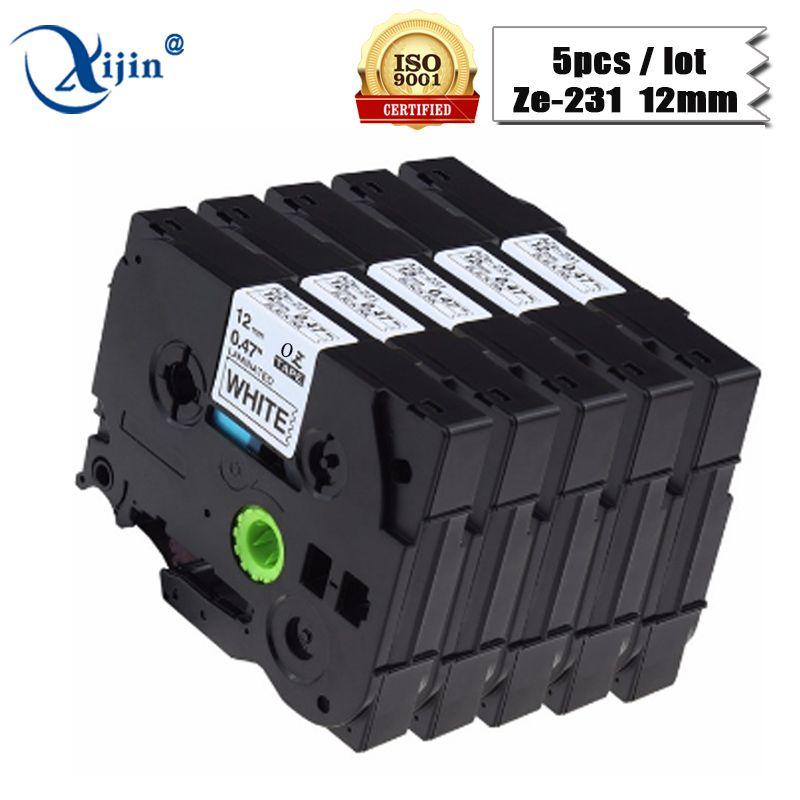 XIJIN 5 stücke tze231 tz231 Kompatibel für Brother P-touch Drucker Etikettenband 12mm Schwarz auf Weiß Tz Tze 231 Laminated Bänder
