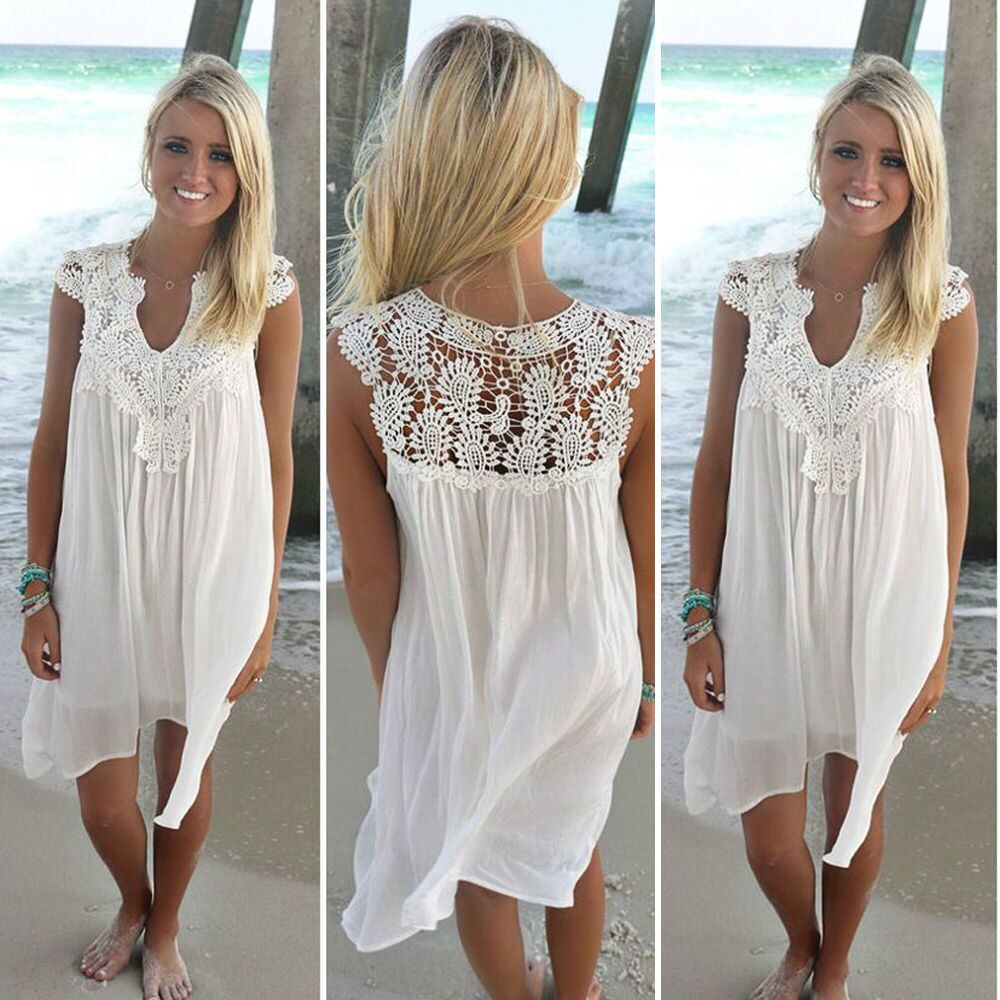 2018 Sexy Chiffon women dress casual Sleeveless loose summer dress <font><b>lady</b></font> Hollow Out White tunic lace Beach Dress plus Size
