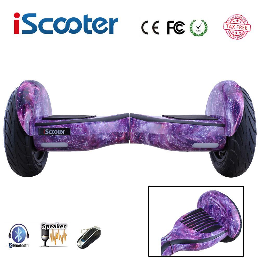 Neue iScooter hoverboard 10 zoll 2 rad geroskuter intelligente selbstausgleich roller mit Bluetooth Lautsprecher LED elektrisches skateboard