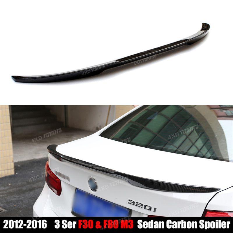 M4 Style For BMW F30 Spoiler 3 Series F30 316i 318i 320i 328i 335i 326d F80 M3 Carbon Fiber Trunk Wing Rear Spoiler Wing 2012-UP
