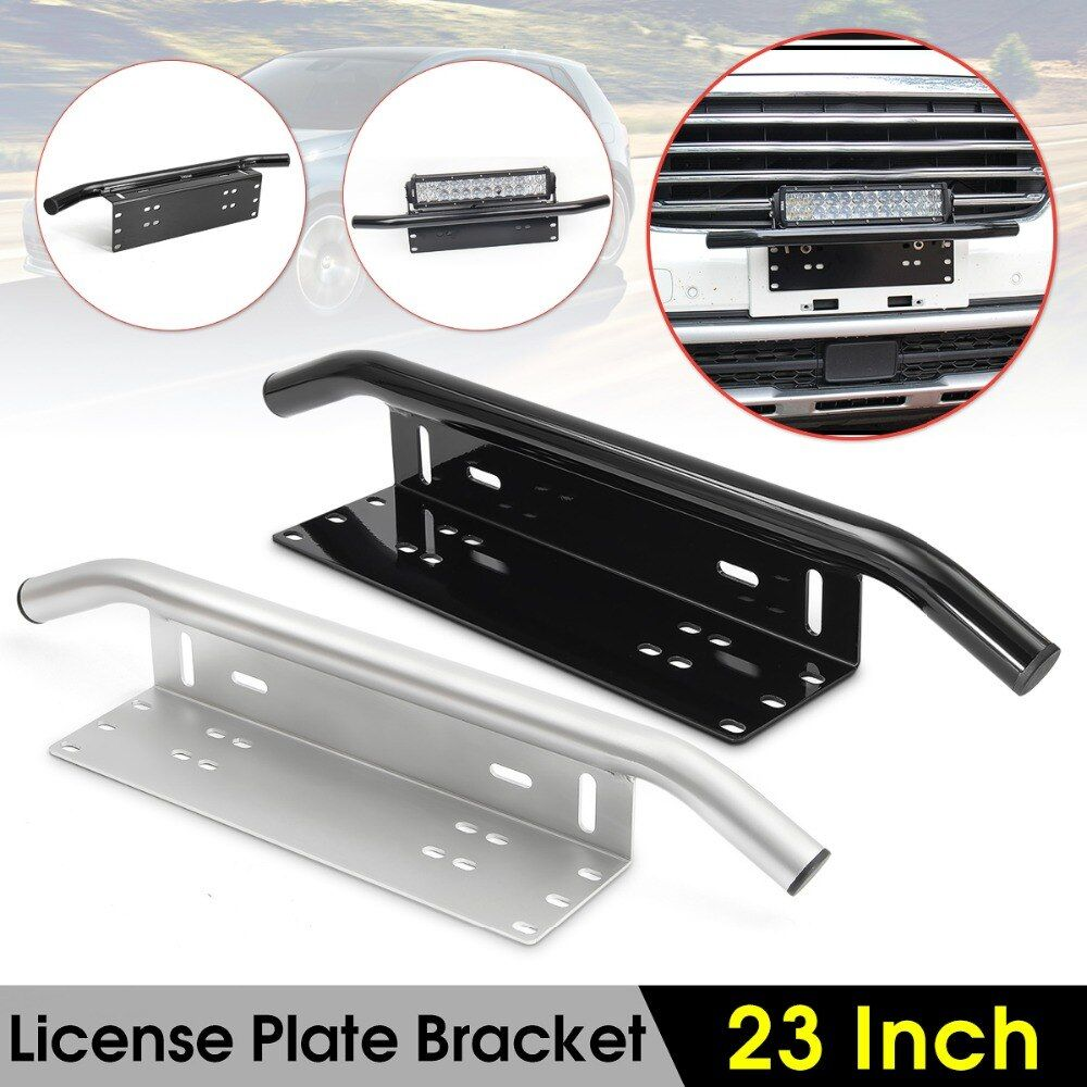 Black/Silver Bull Bar Car SUV Off-road Front Bumper License Plate Mount Bracket Holder Offroad Light Bar