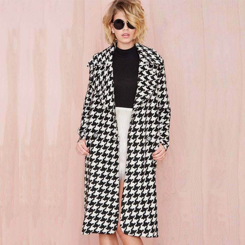 Europea Spring Winter Women Wool Blends Plaid Coat Femal Thick Turn-Down Striped Printed Long Loose Fashionable Outerwear D0231
