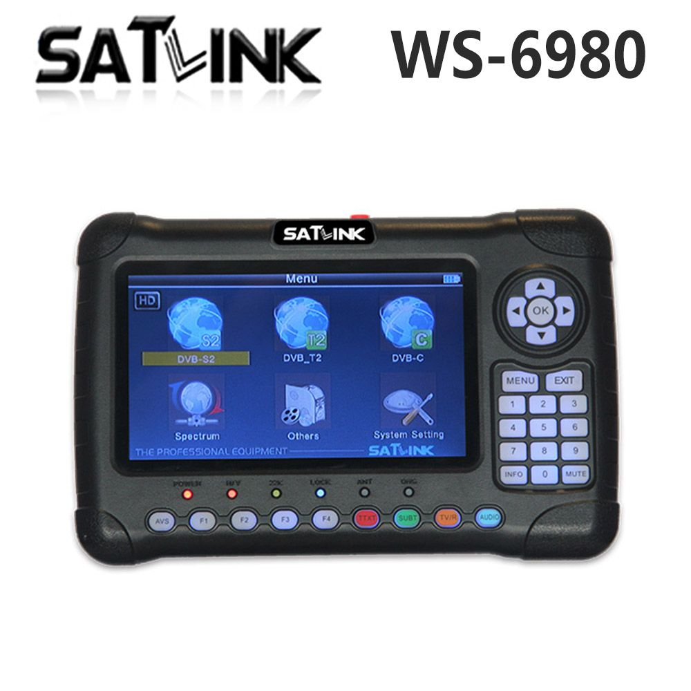 Satlink WS-6980 7inch HD LCD Screen DVB-S2 DVB-T DVB-T2 DVB-C WS 6980 Combo Finder with Spectrum Analyzer constellation Meter
