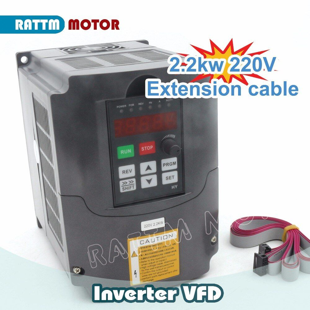 RUS/ EU Ship!! 2.2KW 220V 3HP Variable Frequency VFD Inverter Output 3 phase 400Hz 10A &Extension cable/control panel box