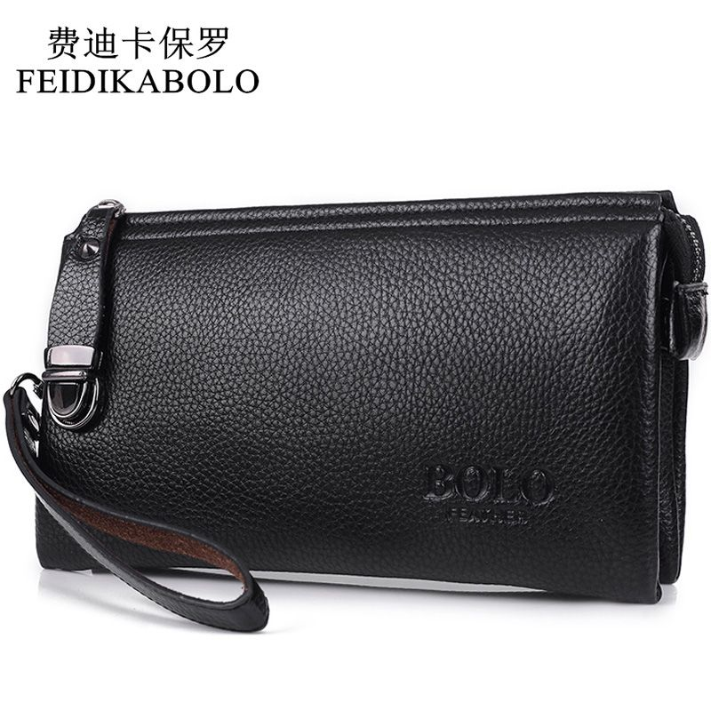 FEIDIKABOLO <font><b>Famous</b></font> Brand Men Wallet Luxury Long Clutch Handy Bag Moneder Male Leather Purse Men's Clutch Bags carteira Masculina