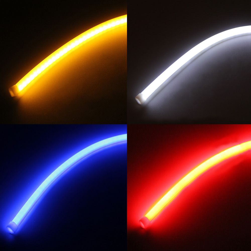 Super Bright 2pcs 45cm LED Car DRL Daytime Running Strip Light Flexible Soft Tube Lamp Free Shipping