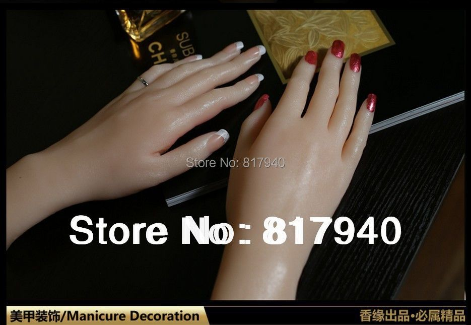 NEW ARRIVAL!one pair unbreakable realistic Life size silicone female mannequin hand for rings display Nail Trainer
