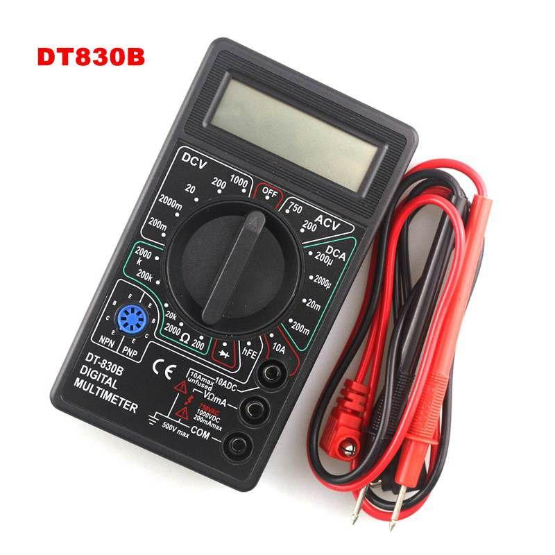 DT830B Mini Multimeter LCD Digital Multimetro For Volt Amp Ohm Tester Meter Voltmeter Ammeter Overload Protection With Probe