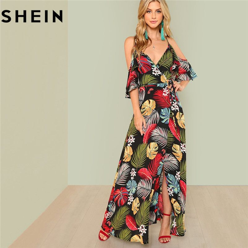 SHEIN Summer Boho Floral Print Sexy Deep V Neck Open Shoulder Maxi Dress Women Beach Vacation High Waist Surplice Wrap Dresses