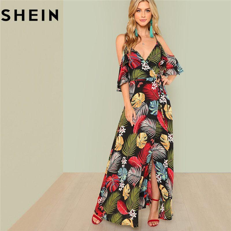 SHEIN Summer Boho Floral Print Sexy Deep V Neck Open Shoulder Maxi Dress Women Beach Vacation High Waist Surplice Wrap Dresses