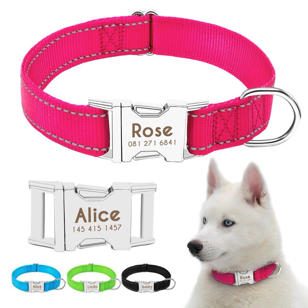 Personazlied Dog Collar Nylon Reflective Dog Pet Collars Customized Pet Collar With Anti-lost Tag For Small Medium Dogs