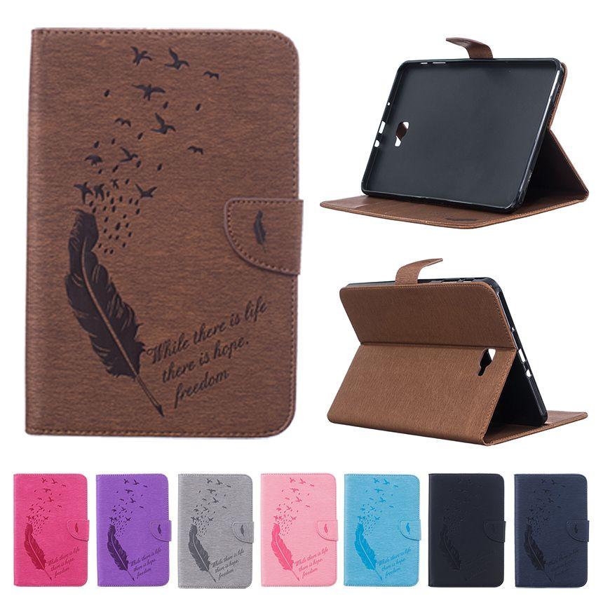 GOOYIYO-étui pour samsung Galaxy Tab A10.1 T580 gaufrage Quill peinture tablette PU cuir mince couverture support coque avec sac de carte