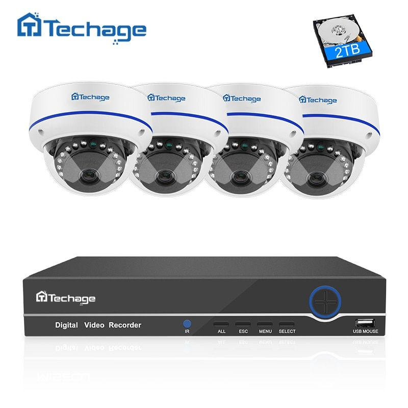 Techage 4CH 1080P CCTV System POE NVR Kit 4PCS Vandalproof Anti-vandal Indoor Dome IP Camera P2P Onvif Security Surveillance Set