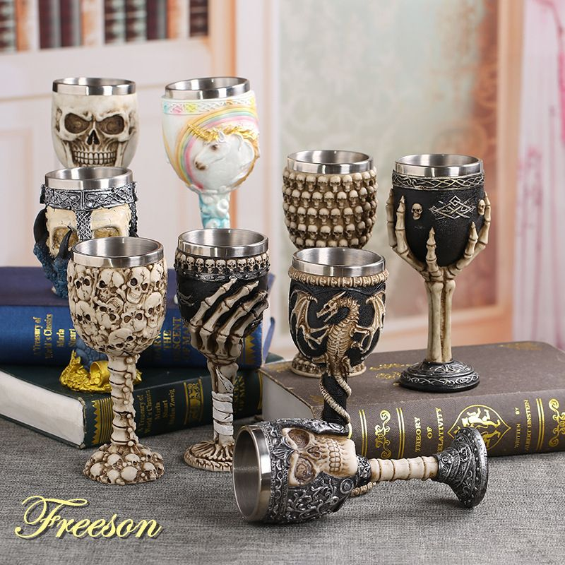 Coolest Gothic Resin Stainless Steel Dragon Skull Goblet Retro Claw Wine Glass Cocktail Glasses Whiskey Cup Party Bar Drinkware