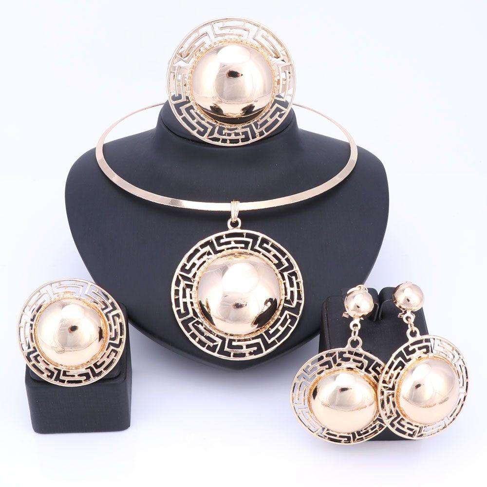 Ensembles de bijoux de mariée de mariage pour femmes collier Bracelet boucles d'oreilles anneaux couleur or Dubai perles africaines déclaration accessoires