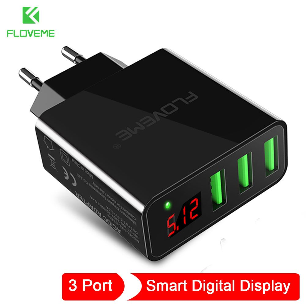 FLOVEME USB Charger 3 Port LED Display EU/US Plug For iPhone Charger Max 2.4A Mobile Wall Charger For Samsung Xiaomi Charger
