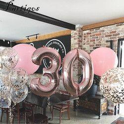 1 unid 40 pulgadas Rosa oro plata papel de aluminio globos número 0-9 Partido de compromiso de la boda del cumpleaños decoración Globo niños suministros