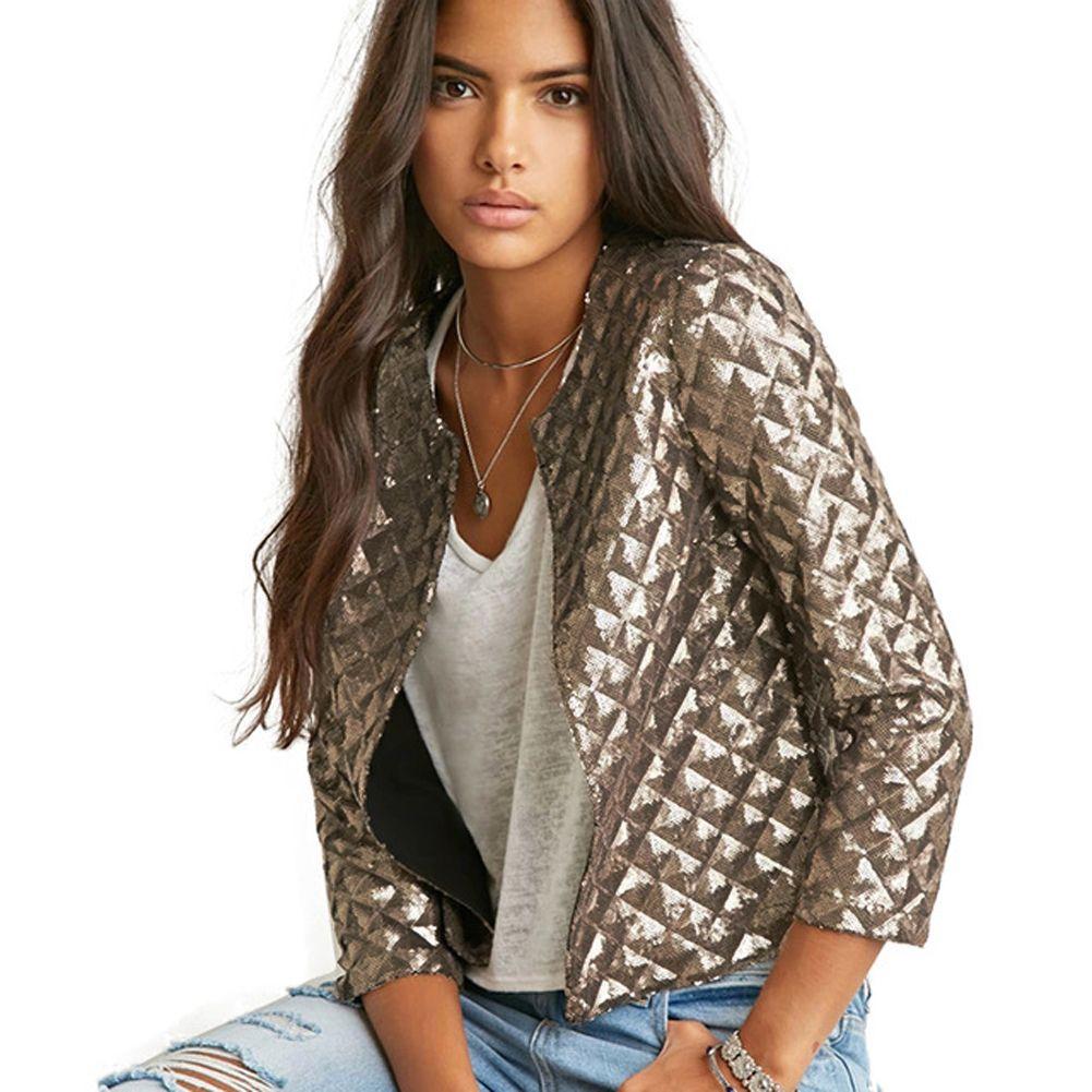 Blazer Women Vogue Lozenge Women Gold Sequins Jackets Three Quater Sleeve Coats Outwears Wholesize S-2XL