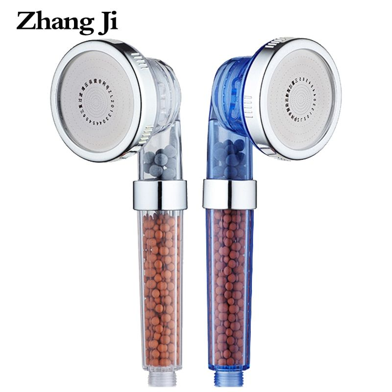 ZhangJi 3 Function Adjustable Jetting Shower Head Bathroom High Pressure Saving water Anion Filter SPA Nozzle Shower Heads