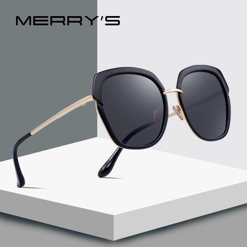 MERRYS DESIGN Frauen Mode Polarisierte Sonnenbrille Schild Rahmen Metall Tempel 100% UV Schutz S6371
