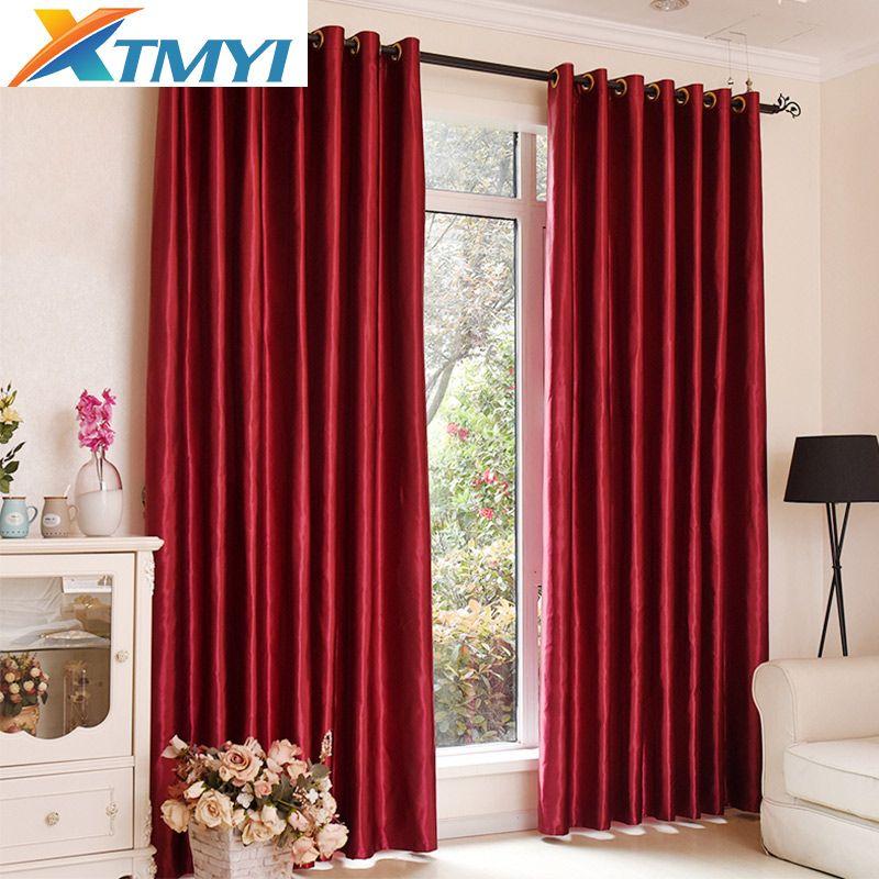 Rideaux occultants pour la chambre couleurs solides rideaux pour la fenêtre du salon brun rouge rideaux stores la sur mesure