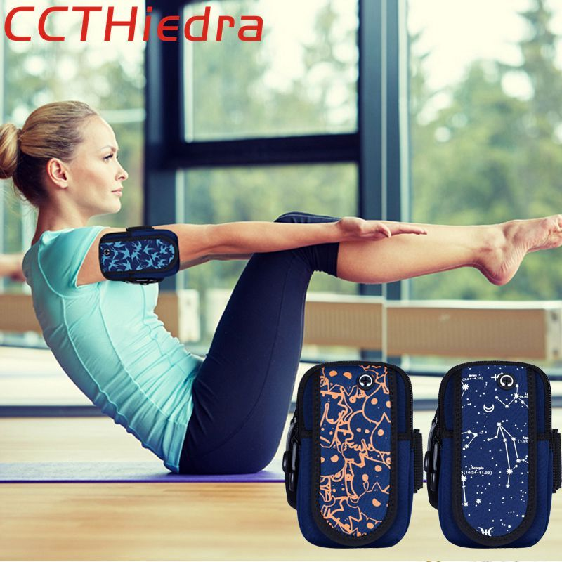 CCTHiedra Brand Armband Sports Mobile Phone Wallet Arm Cases Headphone Hole Gym Yoga Running Zippered Pouch Bags