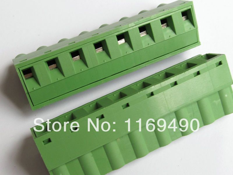 10pcs Push-pull Wire Connectors Pitch 7.62mm 8P Screw bend pin Terminal blocks  Female , Free shipping
