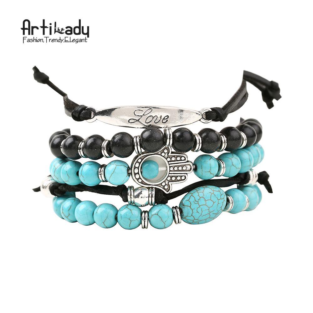Artilady nouveau hamsa main 5 pcs bracelets ensemble pierre perles avec amour bracelet pour femmes bijoux parti cadeau dropshipping