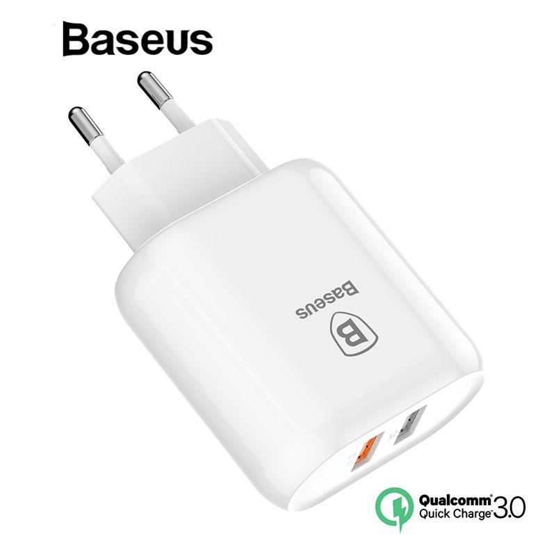 Baseus QC 3.0 Double USB Chargeur Adaptateur UE Plug Mur Voyage Charge Rapide Chargeur Pour l'iphone Samsung Xiaomi Mobile Téléphone chargeur