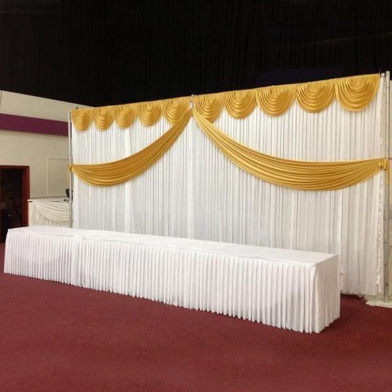 Customized Satin Wedding Backdrop Curtains Gold Swag Satin party background drape curtain wedding decoration 10ftX20ft(3X6m)