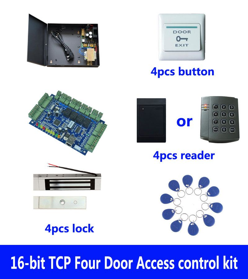 RFID access control kit,TCP/IP four door access control+powercase+180kg magnetic lock+ID reader+button+10 ID tag,sn:kit-B403