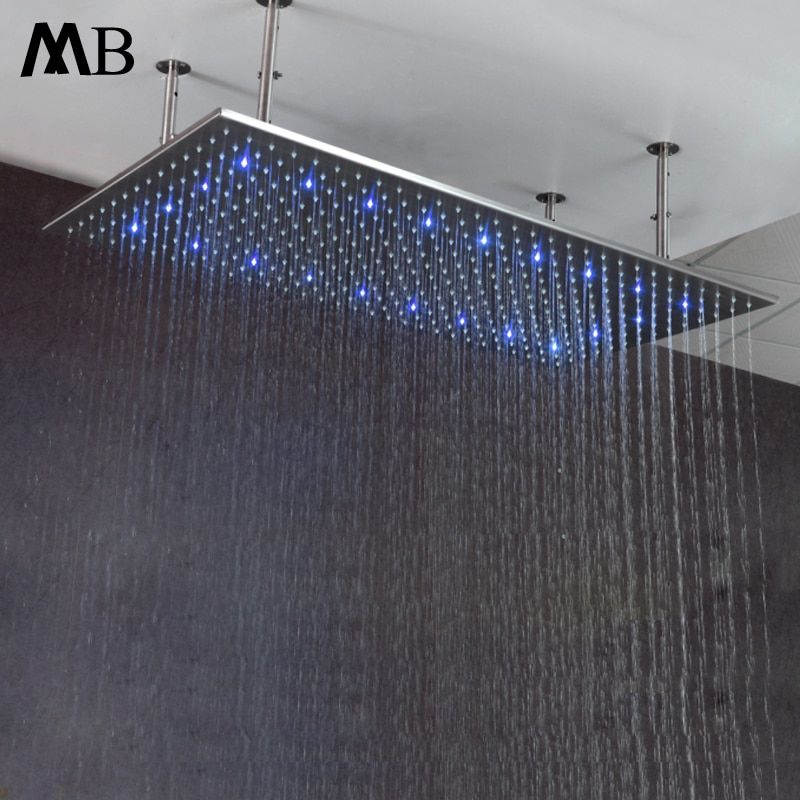 Big Rainfall LED Showerheads 60*80CM Water Temperature Control Bathroom Showers Polished Shower Head With Shower Arms 304 SUS