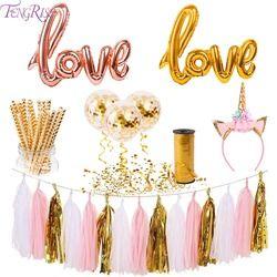 FENGRISE De Mariage Décoration Ballons Rose Or Bannière de Fête D'anniversaire Rose et Or Bébé Douche Faveurs Cadeaux Licorne BRICOLAGE Artisanat