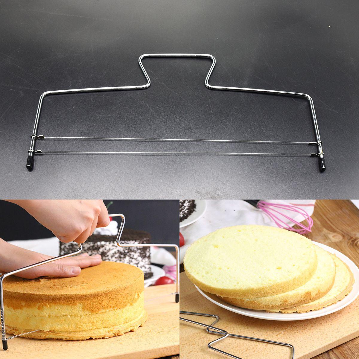 BEEMSK 1 stücke Backen Werkzeuge Zwei-Linie Edelstahl Kuchen Splitter Kuchen Splitter Einstellbare Kuchen Slicer Metall Kuchen Cut werkzeug