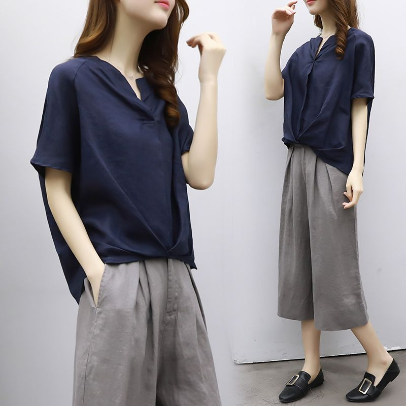 2018 new cotton and linen short-sleeved shirt pants wide leg pants casual fashion suit female