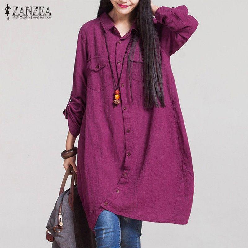 Более Размеры D осень 2017 г. ZANZEA Для женщин Ретро хлопка с длинным Рубашки для мальчиков Повседневное свободные длинный рукав нерегулярные Бл...
