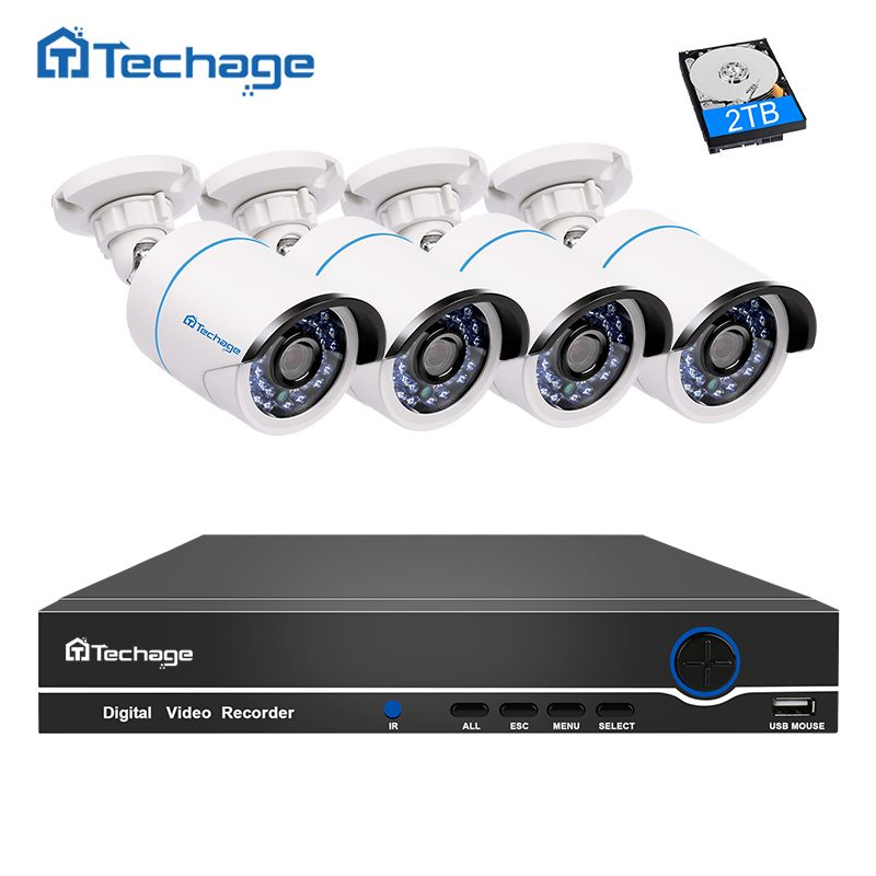 Techage 4CH 1080P 48V POE NVR Kit 2MP 3000TVL Security IP Camera POE CCTV System Outdoor IR Night Vision P2P Surveillance Set