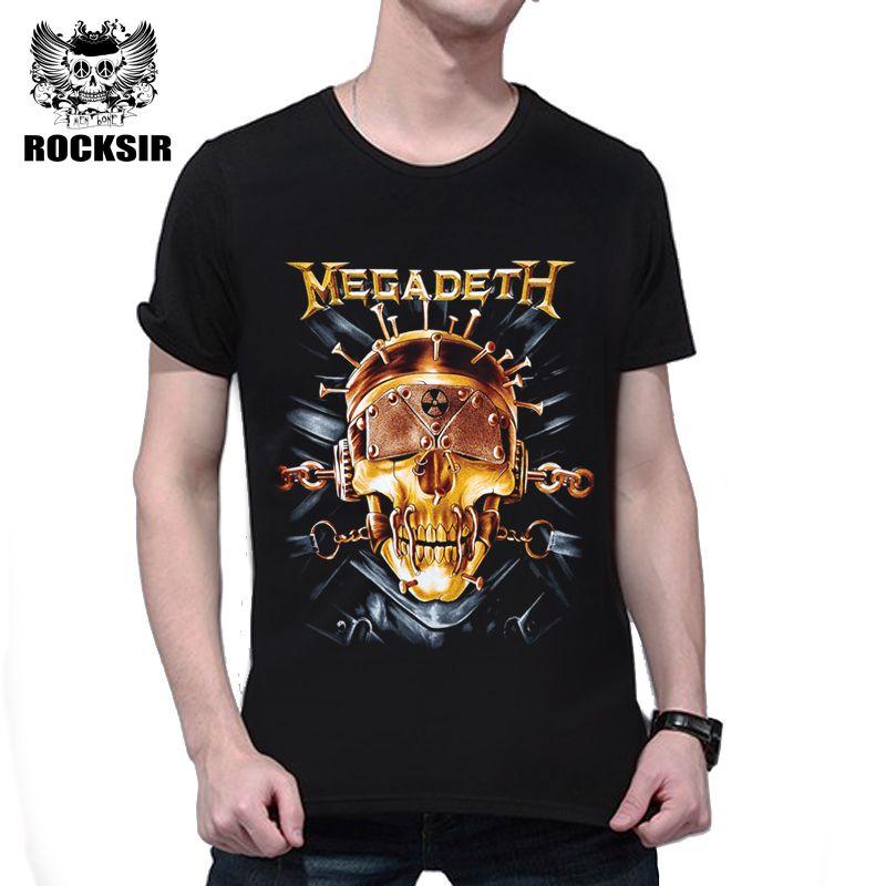 Rocksir Chaude 3D Megadeth Rock T-shirt Mode Hip Hop Crâne imprimé Coton T-Shirt Hommes Occasionnels À Manches Courtes D'été Rue Tops Tee