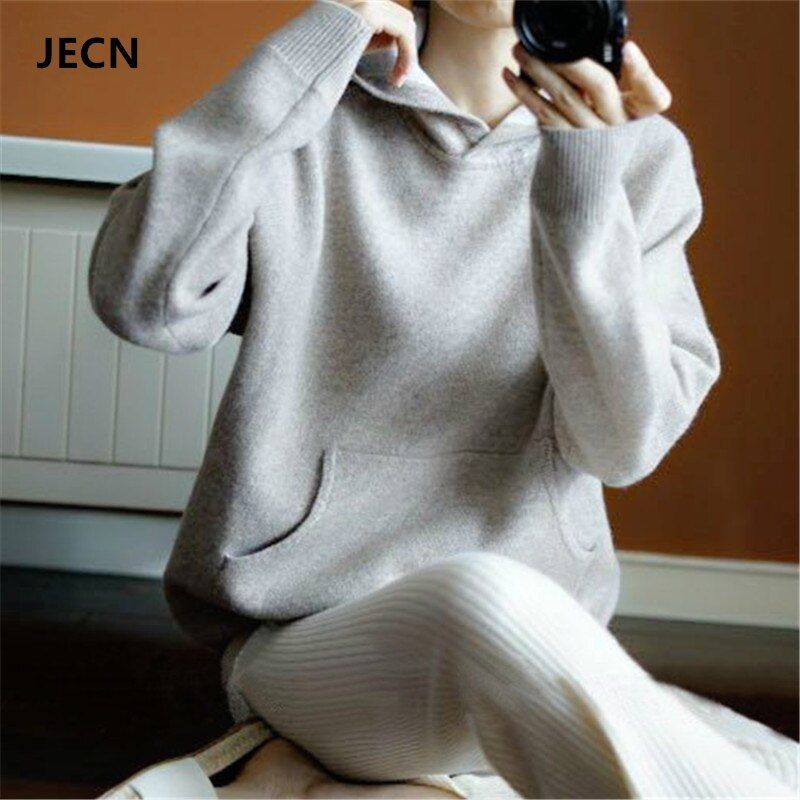 JECN Spring Winter Cashmere Wool Sweater Women Sweaters Knitted Hooded Warm Lady's Grade Up Jumpers and Pullovers with Pockets
